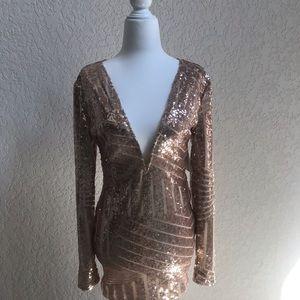 Rose gold beaded body con dress